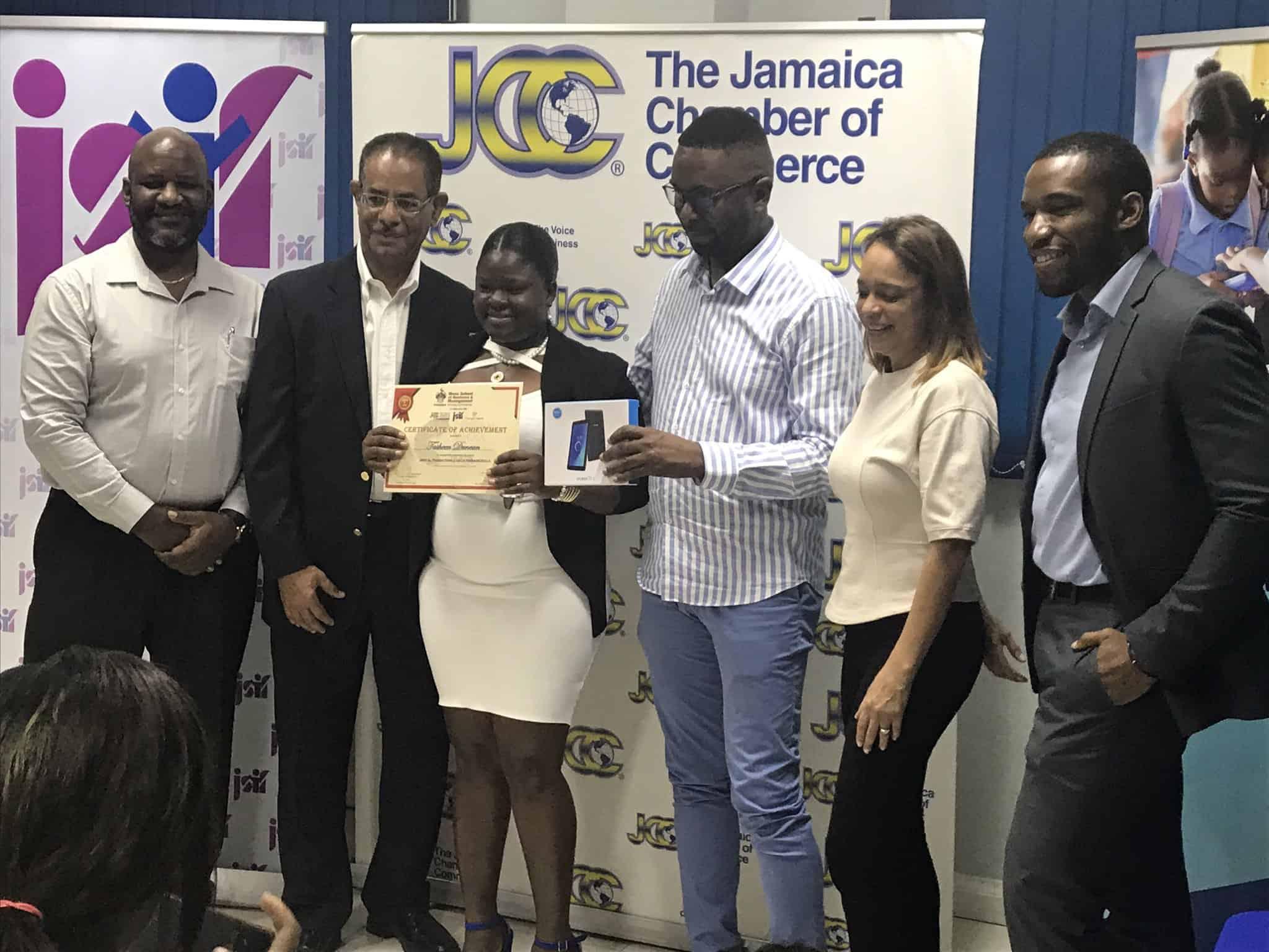 JCC and CSOD staff with digital skills valedictorian Tasheen Duncan